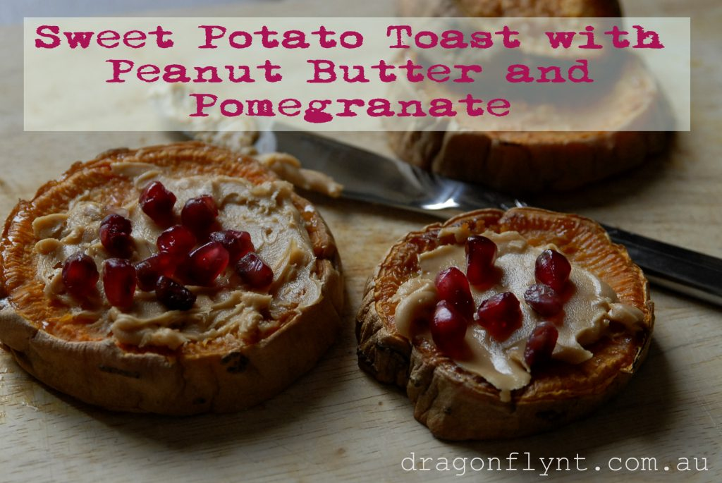 sweet potato toast with peanut butter and pomegranate