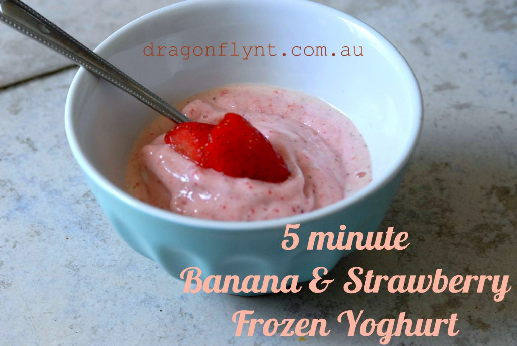 Banana and strawberry frozen yoghurt
